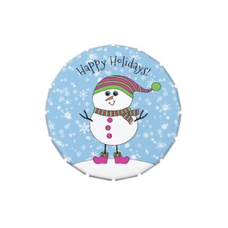 Winter Whimsy Snowman Happy Holidays Jelly Belly Candy Tin