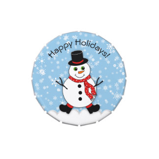 Winter Whimsy Snowman Happy Holidays Jelly Belly Tin