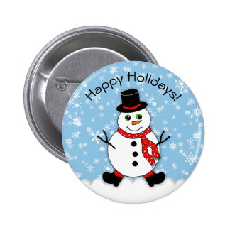 Winter Whimsy Snowman Happy Holidays Pinback Button