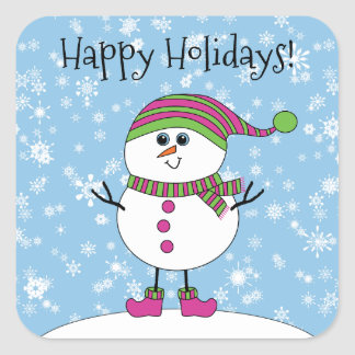Winter Whimsy Snowman Happy Holidays Square Sticker