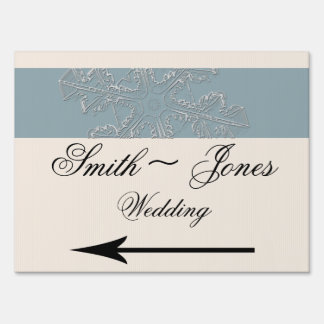 Winter White and Blue Wedding Direction Sign