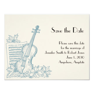 Winter White and Blue Wedding Save the Date 4.25x5.5 Paper Invitation Card