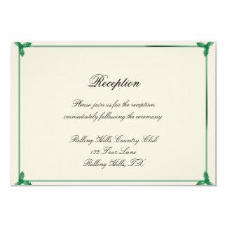 Winter White and Green Mistletoe Wedding Reception 3.5x5 Paper Invitation Card
