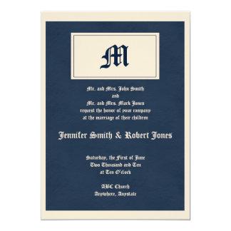 Winter White and Navy Blue Monogram Invitation