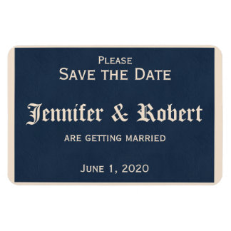 Winter White and Navy Blue Save the Date Magnets