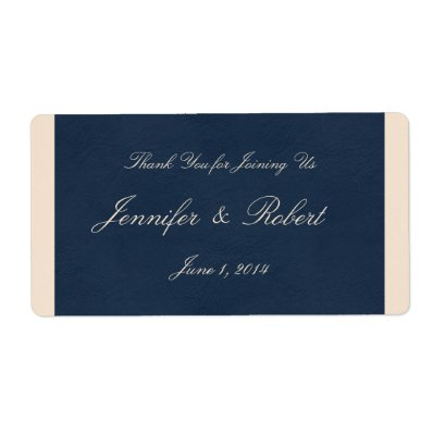 Winter White and Navy Blue Water Label