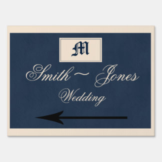 Winter White and Navy Blue Wedding Direction Sign