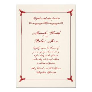 Winter White and Red Mistletoe Wedding Invitation