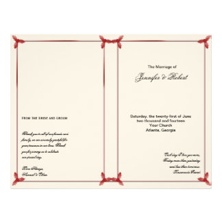 Winter White and Red Mistletoe Wedding Program