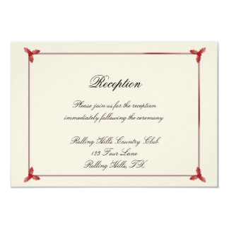 Winter White and Red Mistletoe Wedding Reception 3.5x5 Paper Invitation Card