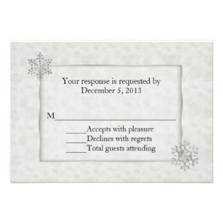 Winter White and Silver Snowflake Wedding RSVP Invite