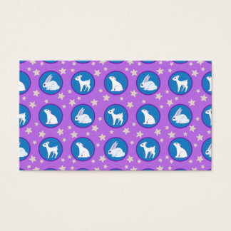 Winter White Animals With Stars Art Pattern Business Card