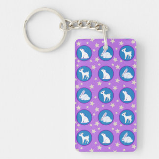 Winter White Animals With Stars Art Pattern Double-Sided Rectangular Acrylic Keychain