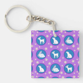 Winter White Animals With Stars Art Pattern Double-Sided Square Acrylic Keychain