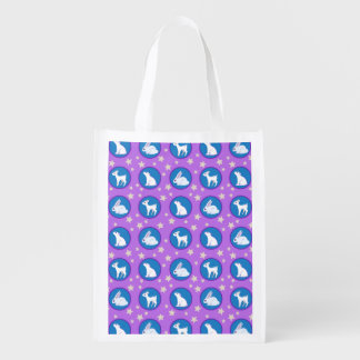 Winter White Animals With Stars Art Pattern Reusable Grocery Bags