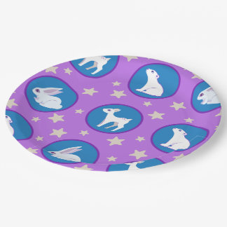 Winter White Animals With Stars Art Pattern 9 Inch Paper Plate