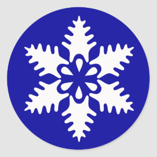 Winter White Christmas Snowflake Classic Round Sticker