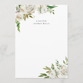 Winter White Floral Monogram Stationery Note Card