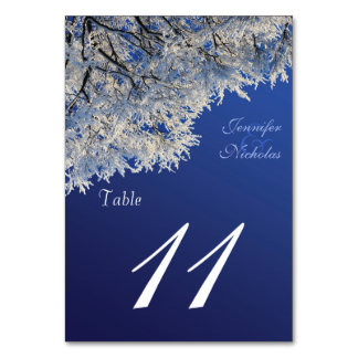 Winter White Frost on Trees Wedding Table Number