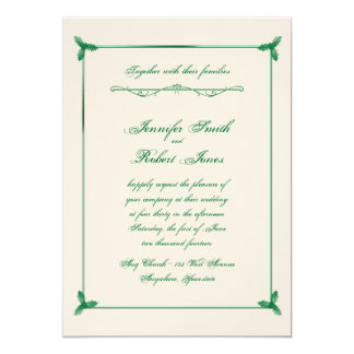 Winter White Green Mistletoe Wedding Invitation
