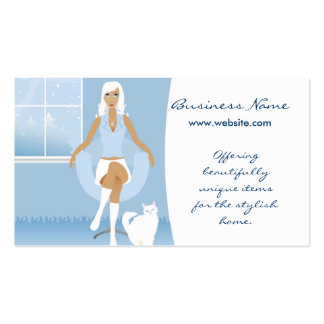 Winter White Lady w/Cat Design 2 Business Cards