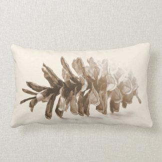 Winter White Lumbar Pillow, Pinecone Design Lumbar Pillow