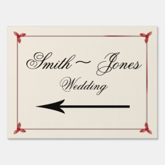Winter White Red Mistletoe Wedding Direction Lawn Sign