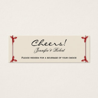 Winter White Red Mistletoe Wedding Drink Tickets