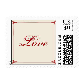 Winter White Red Mistletoe Wedding Love Postage