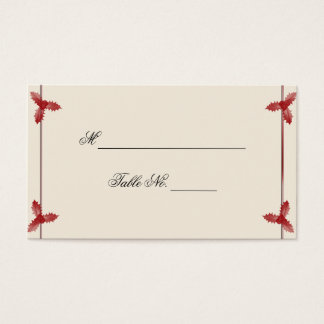 Winter White Red Mistletoe Wedding Place Card