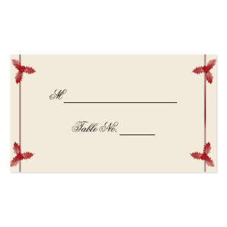Winter White Red Mistletoe Wedding Place Card Business Card