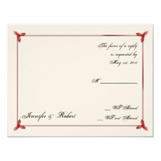 Winter White Red Mistletoe Wedding Response Card