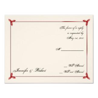 Winter White Red Mistletoe Wedding Response Card