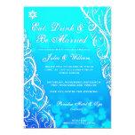 Winter White Snowflake Flourishes Wedding Invite