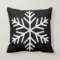 Winter White Snowflake on Black or Custom Color Throw Pillow