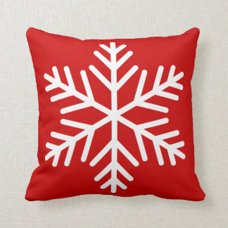 Winter White Snowflake on Red or Custom Color Throw Pillows