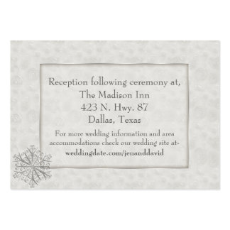 Winter White Snowflake Wedding Enclosure Card Business Cards