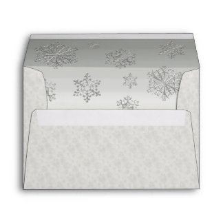 Winter White Snowflakes Wedding Custom Envelope