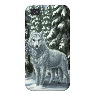 Winter White Wolf iPhone4 Case