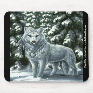 Winter White Wolf Mousepad