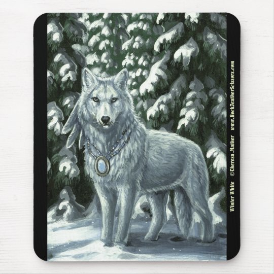 Winter White Wolf Mousepad