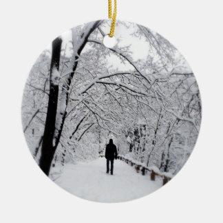 Winter Whiteout Ceramic Ornament