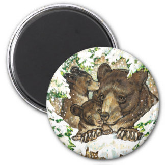 Winter Wildlife Art Black Bear Mother and Cubs 2 Inch Round Magnet