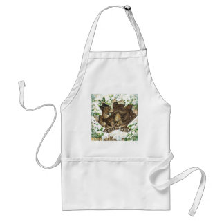 Winter Wildlife Art Black Bear Mother and Cubs Apron