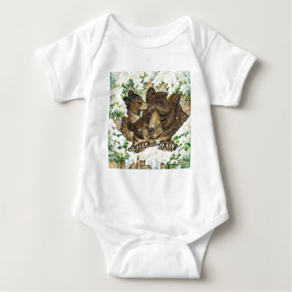 Winter Wildlife Art Black Bear Mother and Cubs Baby Bodysuit