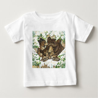 Winter Wildlife Art Black Bear Mother and Cubs Baby T-Shirt