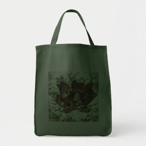 Winter Wildlife Art Black Bear Mother and Cubs Canvas Bags