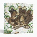 Winter Wildlife Art Black Bear Mother and Cubs 3 Ring Binder