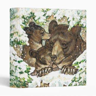 Winter Wildlife Art Black Bear Mother and Cubs 3 Ring Binder