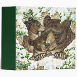 Winter Wildlife Art Black Bear Mother and Cubs 3 Ring Binders